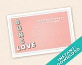 Valentines Bunco Invitation  - February Bunco Invitation (a.k.a. Bunko, score card, score sheet)