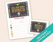 Roll Dem Bones Bunco - Printable Halloween or Dia De Los Muertos  Bunco Score and Table (a.k.a. Bunko, score card, score sheet) Card Set