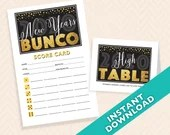 2020 New Years Bunco, January Bunco theme printable Scorecard and Table Marker Set