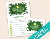 Saint Patrick's Day Bunco Scorecard and Table Marker Set  - Good Luck Shamrock Bunco