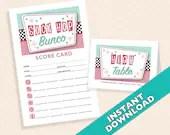 Sock Hop Bunco Theme Scorecard and Table Marker Set