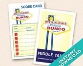 Las Vegas Bunco Theme Scorecard and Table Marker Set