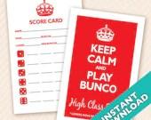 Keep Calm and Play Bunco Theme Scorecard and Table Marker Set