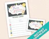 Baby Shower Bunco Theme Scorecard and Table Marker Set