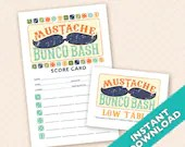 Mustache Bunco Bash Bunco Theme Scorecard and Table Marker Set
