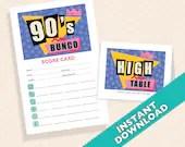 90's  Bunco Theme Scorecard and Table Marker Set
