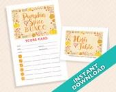 Pumpkin Spice Bunco Theme Scorecard and Table Marker Set