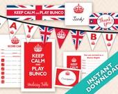 Instant Download Printable Bunco Party Decoration Set - British Theme (a.k.a. Bunko, score card, score sheet)