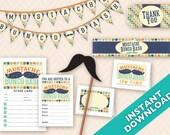 Mustache Bunco Bash Printable Party Decoration Set - Instant Download