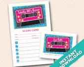 80's  Bunco Theme Scorecard and Table Marker Set
