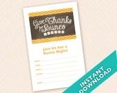 Thanksgiving  Bunco Invitation, Instant Download