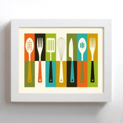 Modern Kitchen Art Cheap Unfinished Cabinets Mid Century Retro Decor Etsy Cooking Utensils Kitchenware Wall Knife Fork Spoon