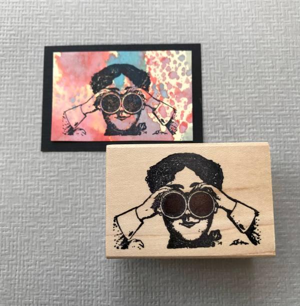 Steampunk Binocular Lady Rubber Stamp