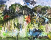 Kleinriviersberg, Stanford . Acrylic & mixed media on paper . Contemporary abstract landscape painting . Expressive landscape, South Africa