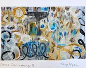 Come Swimming 2 . Original mixed media painting by Tracy Algar . Abstract expressionism . Gestural abstraction . Abstract landscape