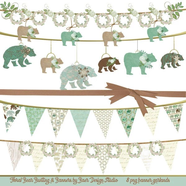 teal and brown bear clip art baby