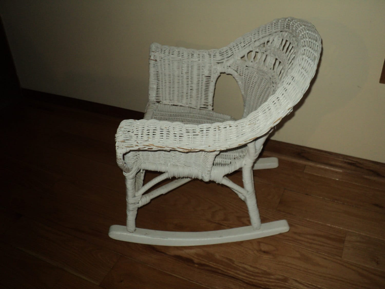 Wicker Rocking Chair Vintage White Wicker Rocking Chair In Very Good Condition With Wonderful Well Developed Painted Patina For Decorative Display Only
