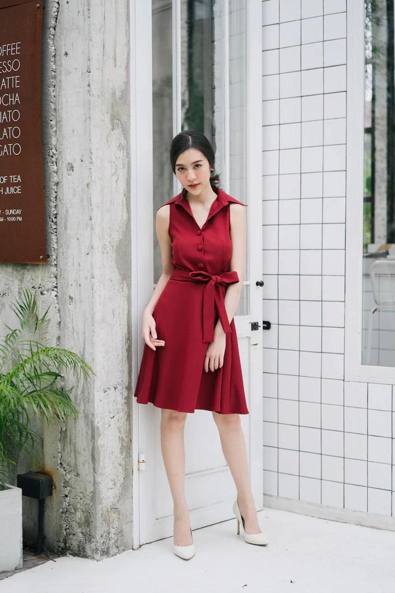 dark red shirt dress
