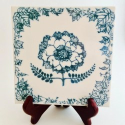 09158f18d180a English Tile In Traditional Flower Design Of Teal Blue And Etsy