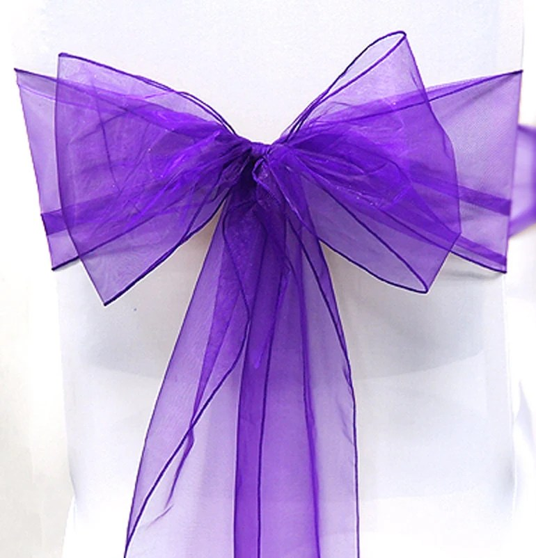 purple chair sashes for weddings padded folding chairs sale wedding corporate events bows organza pew party event