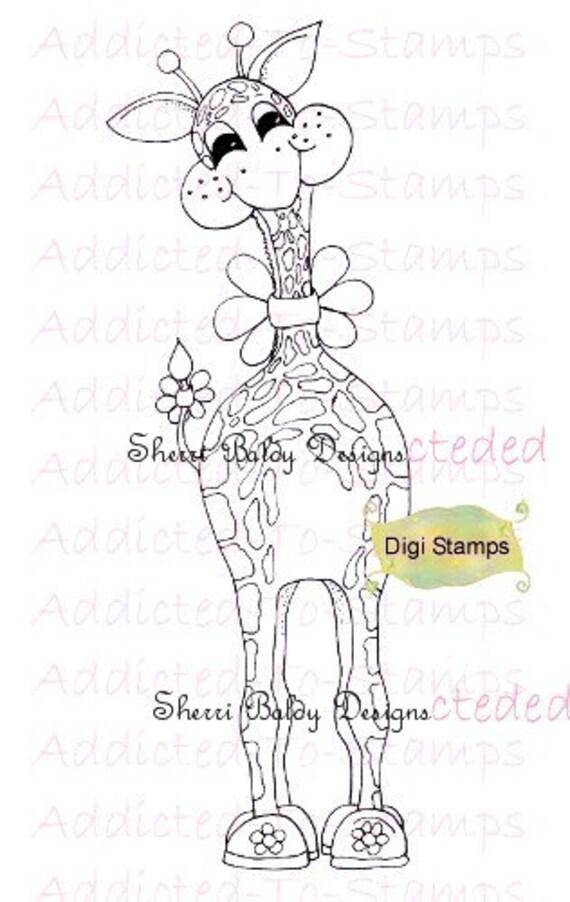 INSTANT DOWNLOAD Digi Stamps Gritty Giraffe Daisy Zoo-Zie