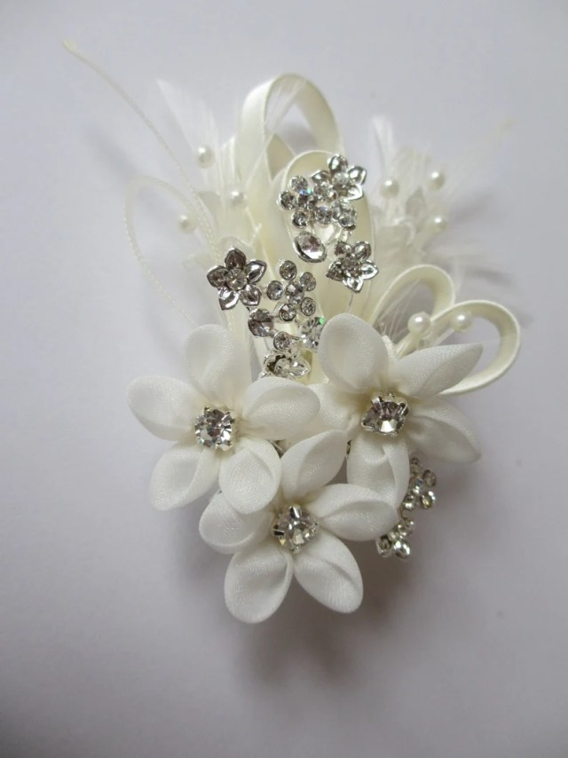 floral hair comb - forget me not, bridal hair combs, wedding hair accessories, elegant swarovski crystals, pearls, feathers and silk flowers