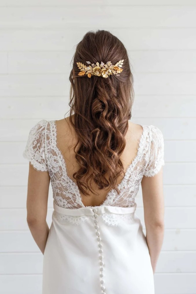 carris gold wedding hair comb, large bridal hair comb, statement gold floral rose comb