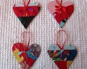 Heart Junk Journal Tags Upcycled from Cutter Quilt Remnant & Wallpaper AA84