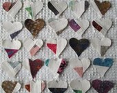 Mini Heart IronOn SewOn Appliques Upcycled Modern Quilt Blocks, Set of 25 AA74