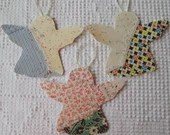 Angel Junk Journal Tags Upcycled from Cutter Quilt Remnant & Wallpaper AA95