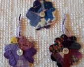 Flower Junk Journal Tags Upcycled from Cutter Quilt Remnant & Wallpaper AB93