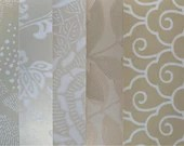 Wallpaper Sample Bundle - 5 Pieces - White, Cream, Taupe - Cardmaking, Junk Journals, Scrapbook, Mixed Media, Altered Art - PA51