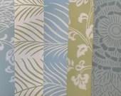 Wallpaper Sample Bundle - 5 Pieces - Soft Blue, Green Tones - Cardmaking, Junk Journals, Scrapbook, Mixed Media, Altered Art - PA56