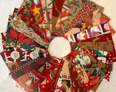 """Vintage Wrapping Paper Bundle - 26 Pieces - 5""""x7"""" - Red - Christmas - Cardmaking, Junk Journals, Scrapbook, Collage, Mixed Media- EB11"""