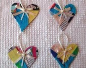 Heart Junk Journal Tags Upcycled from Cutter Quilt Remnant & Wallpaper AA82