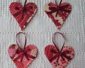 Heart Junk Journal Tags Upcycled from Cutter Quilt Remnant & Wallpaper AB02