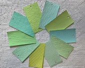"Embossed Paint Chip Sample Bundle - 3x5.5"" - 10 Pieces- Light Green - Cardmaking, Junk Journals, Collage, Mixed Media - PA26"