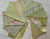 "Wallpaper Sample Bundle - 10 Pieces - 5""x7"" - Light Green Shades - Cardmaking, Junk Journals, Scrapbook, Mixed Media, Altered Art - PA41"
