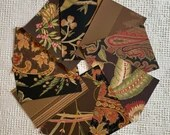 "Wallpaper Sample Bundle - 10 Pieces - 5""x7"" - Dark Brown Black Shades - Cardmaking, Junk Journals, Scrapbook, Mixed Media, Altered Art PA46"