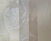 Wallpaper Sample Bundle - 5 Pieces - White, Cream, Taupe - Cardmaking, Junk Journals, Scrapbook, Mixed Media, Altered Art - PA50