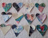 Heart Iron On Sew On Appliques Upcycled Modern Quilt Blocks Set of 12 AA35