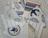 "Wallpaper Sample Bundle - 10 Pieces - 5""x7"" - Navy Blue, Red - Nautical - Cardmaking, Junk Journals, Scrapbook, Mixed Media - PA74"