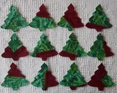 Christmas Trees Iron On Sew On Appliques, Upcycled Modern Quilt Blocks, Set of 12, AC24