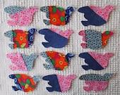 Bird IronOn SewOn Appliques Upcycled Modern Quilt Blocks, Set of 12  AC11