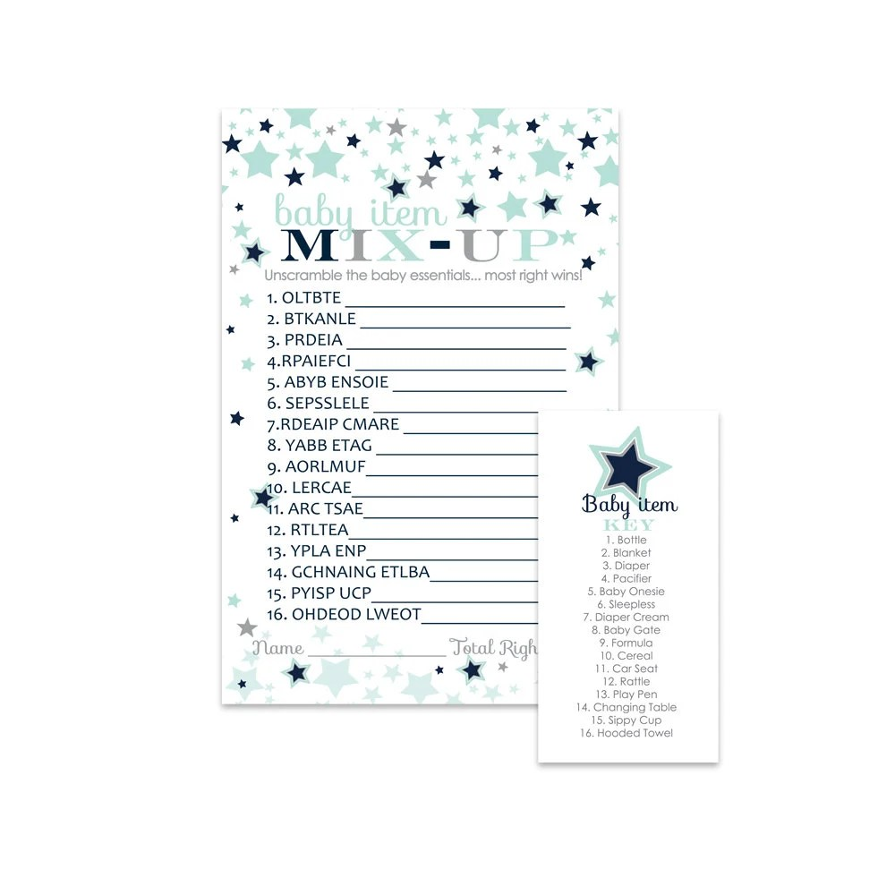 Little Star Baby Shower Word Scramble Game Cards (25 Pack