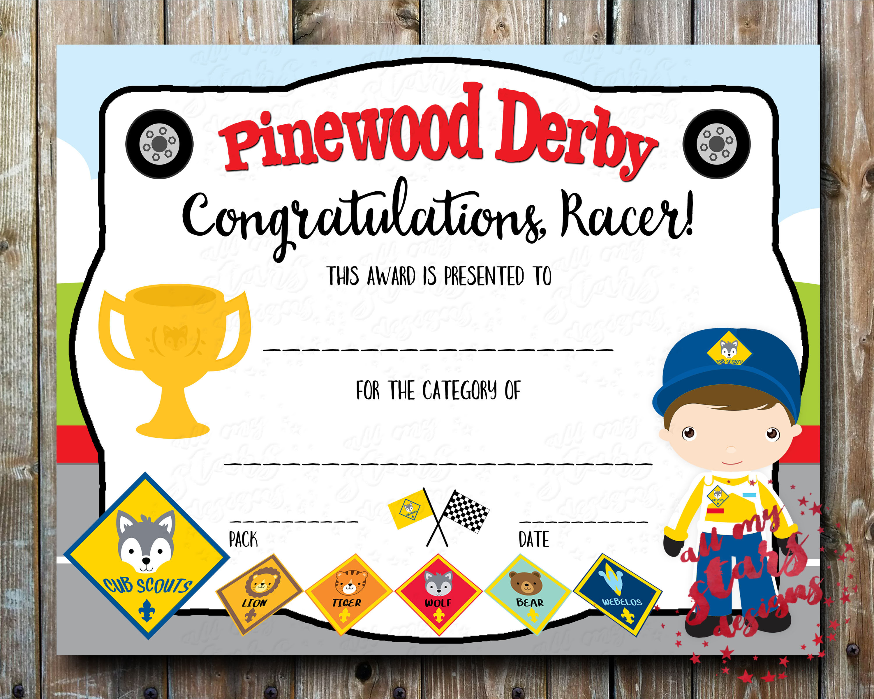 Cub Scout Pinewood Derby Category Certificate
