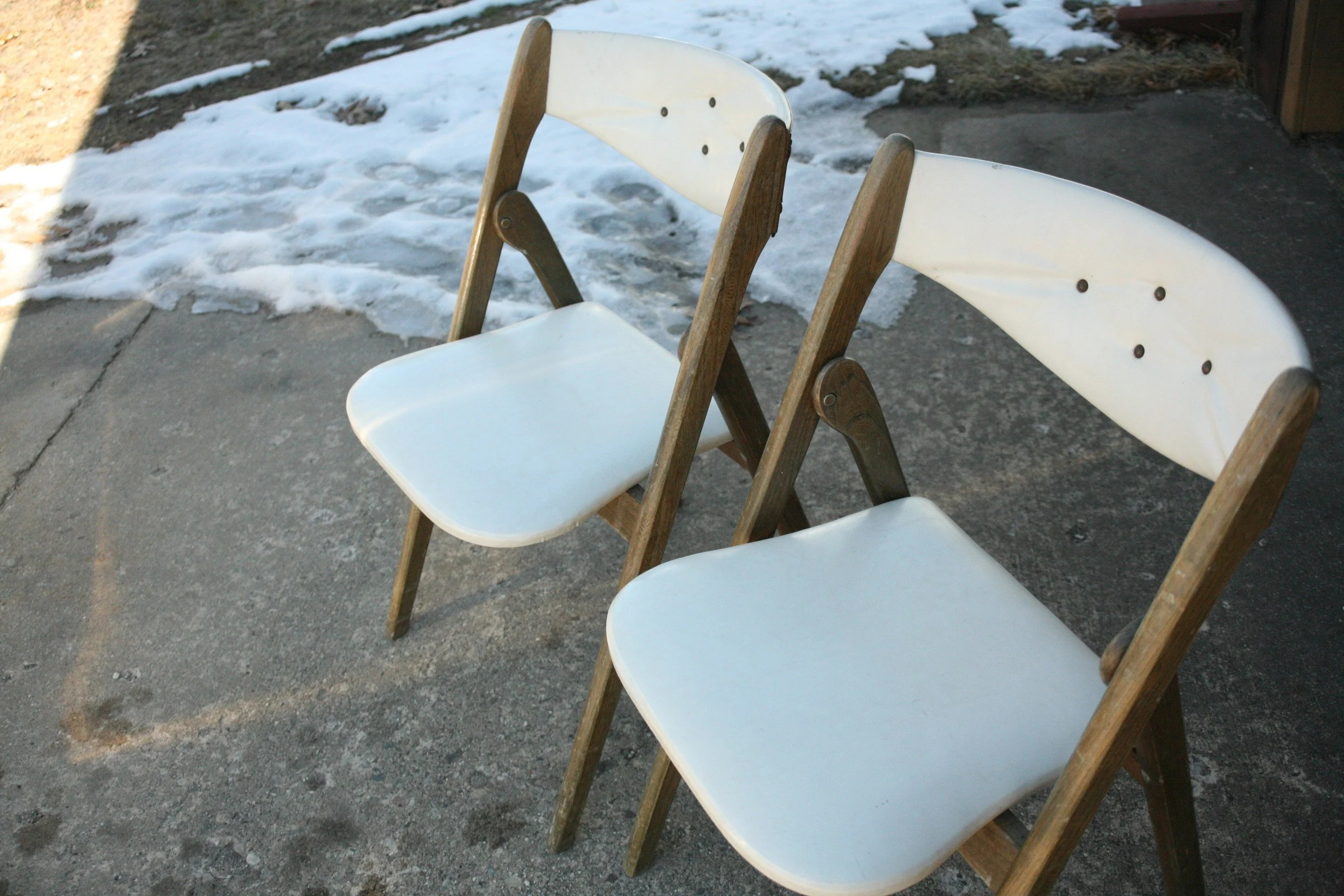 coronet folding chairs directions to chair covers and linens set of two mid century modern white etsy image 0