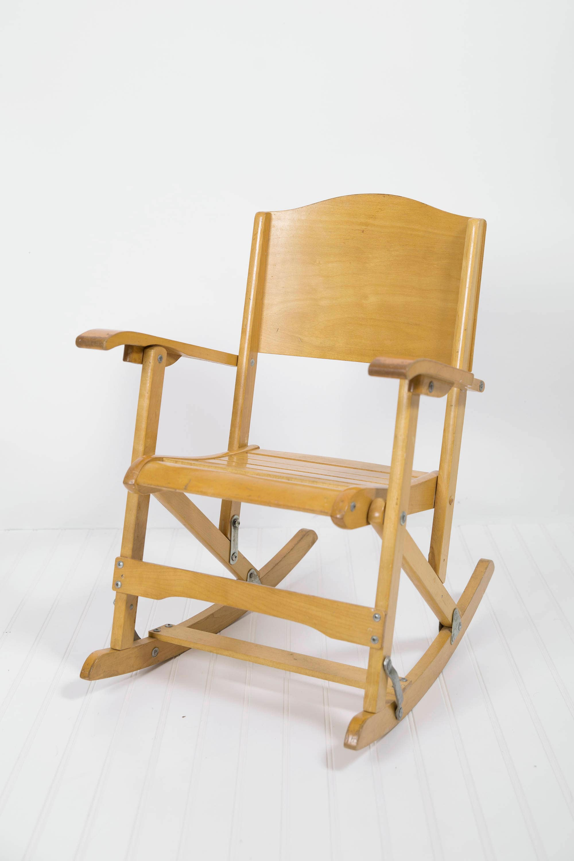 folding rocking chair wood dodge durango captains chairs vintage toddler antique etsy 50