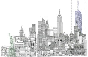 skyline drawing york line building statue liberty sketch freedom nyc draw sketches tower drawings cityscape ny buildings museum visiter paysage