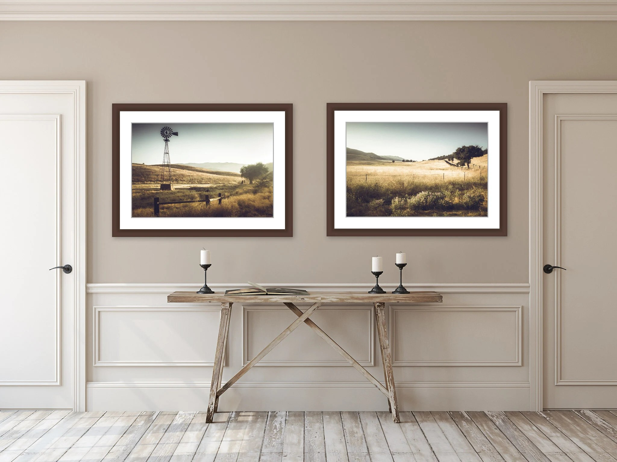 Landscape Photography Rustic Home Decor Windmill Wall